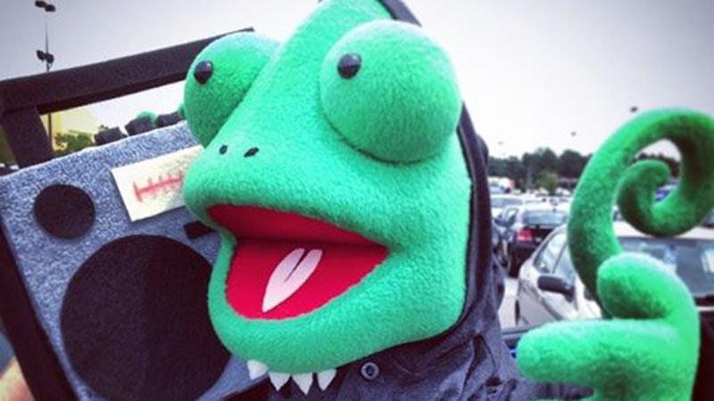 Custom made chameleon lizard puppet