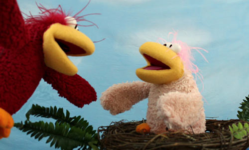 two bird muppet style puppets